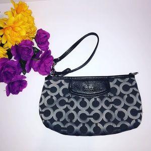 Coach signature black gray silver curved mini bag